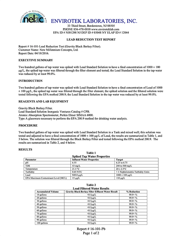 Lead Reduction Test Report