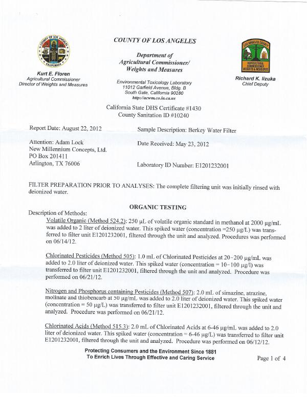 VOC Pesticide THM HAA5 Removal Test Report